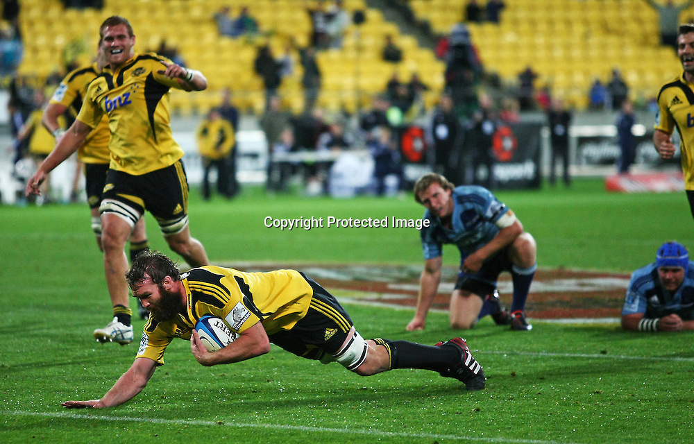 Jason Eaton dives in to score during their Super Rugby match, Hurricanes v Blues, Westpac stadium, Wellington, New Zealand. Friday 4 May 2012.  PHOTO: Grant Down / photosport.co.nz