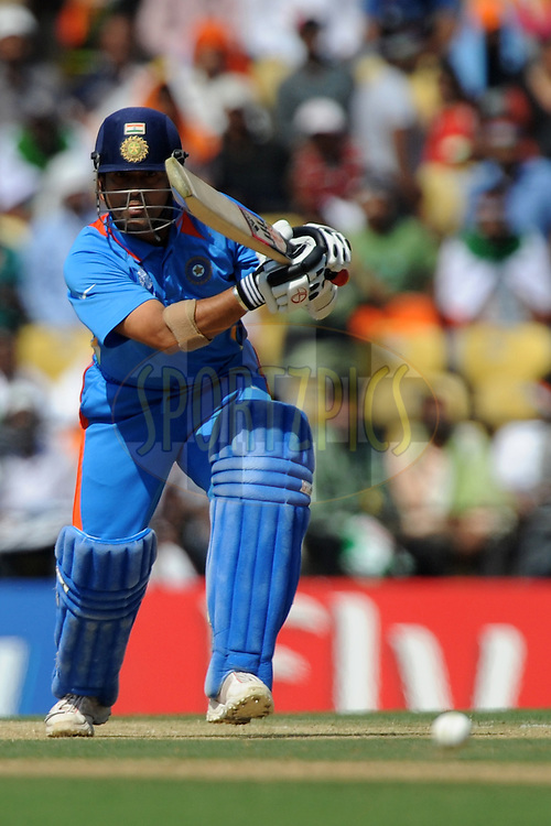 Sachin Tendulkar of India bats during the ICC Cricket World Cup match between India and South Africa held at the Vidarbha Cricket Stadium in Nagpur on the 12 March 2011..Photo by Pal Pillai/BCCI/SPORTZPICS
