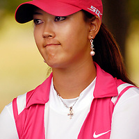 10 June 2007:  Michelle Wie talks to the press after her final round in the McDonald's LPGA Championship. The tournament was won by Suzann Pettersen of Norway who won by one stroke after shooting a 14 under par at Bulle Rock Golf Course in Havre de Grace, Md.  Wie finished the tournament 21 strokes over par.