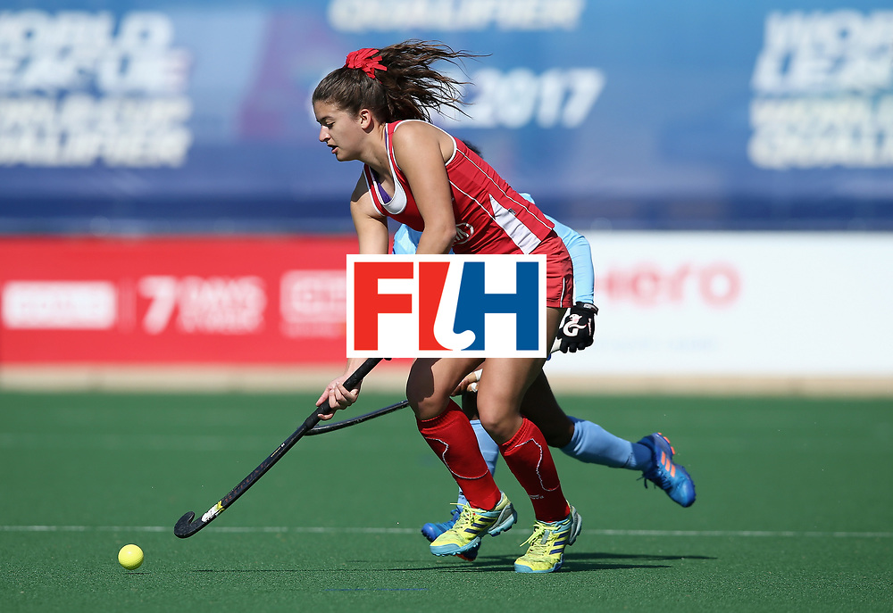 JOHANNESBURG, SOUTH AFRICA - JULY 12: Fernanda Villagran of Chile in action during day 3 of the FIH Hockey World League Semi Finals Pool B match between India and Chile at Wits University on July 12, 2017 in Johannesburg, South Africa. (Photo by Jan Kruger/Getty Images for FIH)