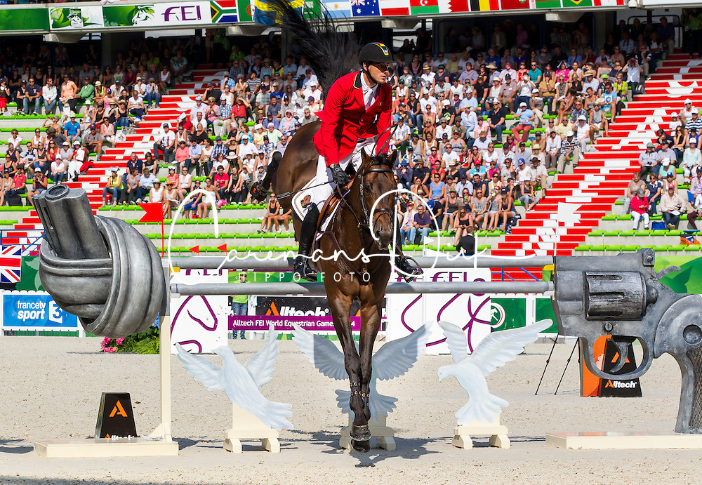 Gregory Wathelet, (BEL), Conrad De Hus - World Champions, - Second Round Team Competition - Alltech FEI World Equestrian Games&trade; 2014 - Normandy, France.<br /> &copy; Hippo Foto Team - Leanjo De Koster<br /> 25/06/14