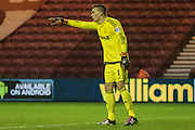 Nottingham Forest goalkeeper Dorus de Vries (1) shouts out the orders to his defenders during the Sky Bet Championship match between Middlesbrough and Nottingham Forest at the Riverside Stadium, Middlesbrough, England on 23 January 2016. Photo by George Ledger.