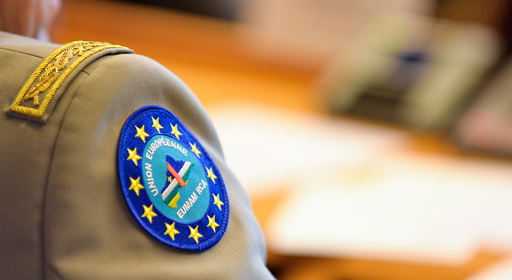 SEDE Exchange of views - The review of Operation Atalanta and Preparing the armed forces of the Central African Republic for the security challenges of tomorrow. Close-up on EUMAM RCA military badge.