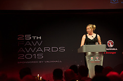 CARDIFF, WALES - Monday, October 5, 2015: Wales' women's national team manager Jayne Ludlow during the FAW Awards Dinner at Cardiff City Hall. (Pic by Ian Cook/Propaganda)