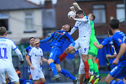 Craig MacGillvray punches clear during the The FA Cup 2nd round match between Rochdale and Portsmouth at Spotland, Rochdale, England on 2 December 2018.