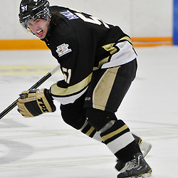 TRENTON, ON - Nov 9: Ontario Junior Hockey League game between Whitby Fury and Trenton Golden Hawks. Robbie Hall #51 of the Trenton Golden Hawks during third period game action..(Photo by Shawn Muir / OJHL Images)