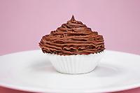 Chocolate cupcake on plate