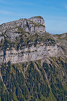 Rocky outcropping and steep slope near the Niederhorn in the Swiss Alps, Berner Oberland, Switzerland.