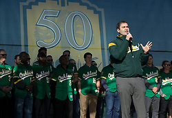 A's President David Kaval speaks to the crowd during Oakland Athletics FanFest at Jack London Square on Saturday, Jan. 27, 2018 in Oakland, Calif. (D. Ross Cameron/SF Chronicle)