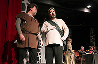 "David Nelson (porter) and Brendan Berube (Macbeth) on stage for dress rehearsal of ""Macbeth"" with the Streetcar Company Theater at Laconia High School on Wednesday evening.  (Karen Bobotas/for the Laconia Daily Sun)"