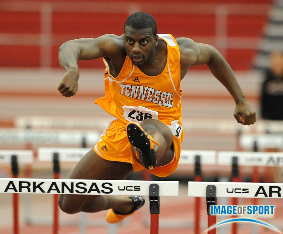 Mar 15, 2008; Fayetteville, AR, USA; Jangy Addy of Tennessee timed 6.84 in the heptathlon 60m hurdles for 940 points in the NCAA indoor track and field championships at the Randal Tyson Center. Addy finished fifth with 5,683 points.