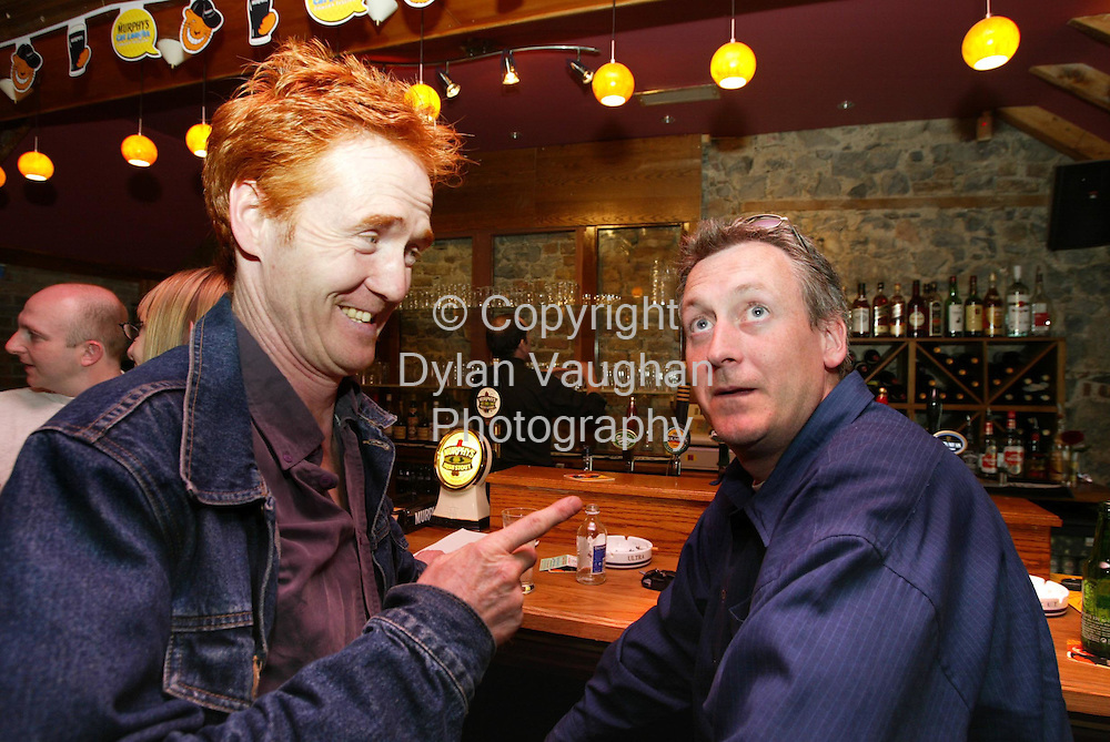 31/5/2002.Pictured at the launch of the Murphys Cat Laughs Comedy festival 2002 at Breathnach's was from left Owen O Neill and Barry Murphy..Picture Dylan Vaughan