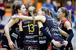 Players of Nova KBM Branik celebrate during volleyball match between Nova KBM Branik Maribor and OK Luka Koper in Final of Women Slovenian Cup 2014/15, on January 18, 2015 in Sempeter v Savinjski dolini, Slovenia. Photo by Vid Ponikvar / Sportida