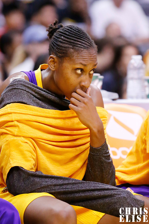 24 August 2014: Los Angeles Sparks forward/center Sandrine Gruda (7) is seen on the bench during the Phoenix Mercury 93-68 victory over the Los Angeles Sparks, in a Conference Semi-Finals at the Staples Center, Los Angeles, California, USA.