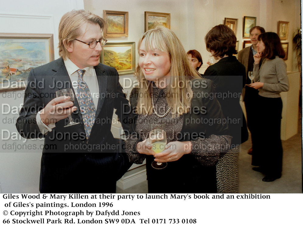 Giles Wood & Mary Killen at their party to launch Mary's book and an exhibition of Giles's paintings.. London 1996<br />© Copyright Photograph by Dafydd Jones<br />66 Stockwell Park Rd. London SW9 0DA<br />Tel 0171 733 0108