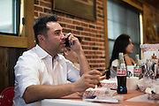 Oscar De La Hoya gets food with his entourage at Meat U Anywhere BBQ in Grapevine, Texas on September 16, 2016.  (Cooper Neill for ESPN)