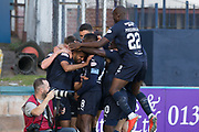 6th October 2018, Dens Park, Dundee, Scotland; Ladbrokes Premiership football, Dundee versus Kilmarnock; Adil Nabi of Dundee is mobbed by team mates after scoring for 1-0 in the 10th minute