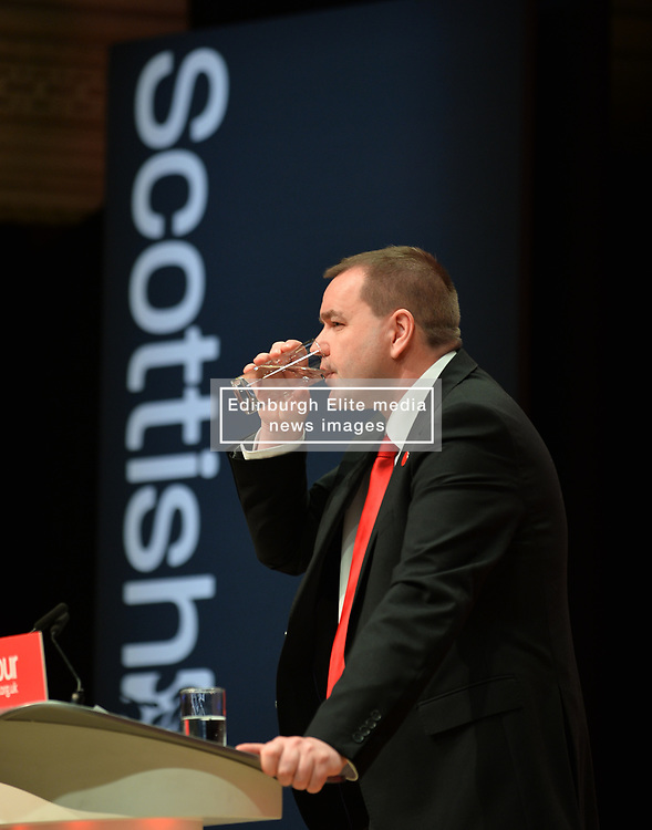 Scottish Bewxit Minister Neil Findlay MSP delivered a rousing speech on the closing day of the Scottish Labour conference at the Caird Hall in Dundee.<br /> <br /> © Dave Johnston / EEm