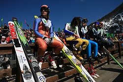 Pre-jumpers at Flying Hill Team in 3rd day of 32nd World Cup Competition of FIS World Cup Ski Jumping Final in Planica, Slovenia, on March 21, 2009. (Photo by Vid Ponikvar / Sportida)