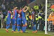Crystal Palace players celebrate their second goal 0-2 during the The FA Cup Quarter Final match between Reading and Crystal Palace at the Madejski Stadium, Reading, England on 11 March 2016. Photo by Mark Davies.