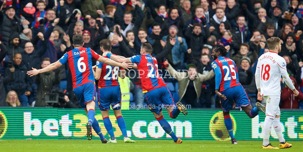 LONDON, ENGLAND - Sunday, March 6, 2016: Crystal Palace's Joe Ledley celebrates scoring the first goal against Liverpool during the Premier League match at Selhurst Park. (Pic by David Rawcliffe/Propaganda)