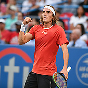 STEFANOS TSITSIPAS reacts after hitting a winner at the Rock Creek Tennis Center.