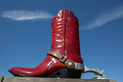 large oversized cowboy boot sculpture