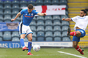 GOAL Bradden Inman fires Rochdale into a 1-0 lead during the EFL Sky Bet League 1 match between Rochdale and Portsmouth at Spotland, Rochdale, England on 7 April 2018. Picture by Daniel Youngs.