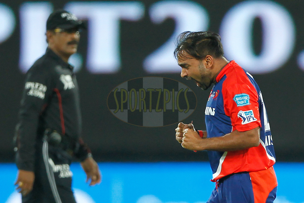 Amit Mishra of Delhi Daredevils celebrates the wicket of Shikhar Dhawan of Sunrisers Hyderabad during match 42 of the Vivo IPL 2016 (Indian Premier League ) between the Sunrisers Hyderabad and the Delhi Daredevils held at the Rajiv Gandhi Intl. Cricket Stadium, Hyderabad on the 12th May 2016<br /> <br /> Photo by Deepak Malik / IPL/ SPORTZPICS