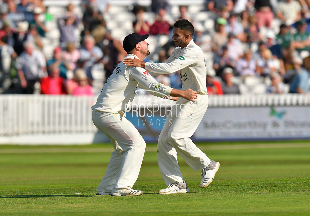 Tied match - Drama as Keshav Maharaj of Lancashire is hugged by Liam Livingstone of Lancashire after taking the wicket to dismiss Jack Leach of Somerset to tie the macth during the Specsavers County Champ Div 1 match between Somerset County Cricket Club and Lancashire County Cricket Club at the Cooper Associates County Ground, Taunton, United Kingdom on 5 September 2018.