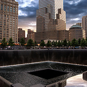 The memorial occupies half of the 16-acre World Trade Center site. Twin reflecting pools with cascading waterfalls are set within the one-acre footprints of the original twin towers. <br />