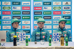 Ursa Bogataj, Nika Kriznar and Spela Rogelj during press conference before FIS Ski World Cup Ladies competition in Ljubno 2018 on January 24, 2018 in BTC, Ljubljana, Slovenia. Photo by Urban Urbanc / Sportida