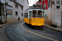 PORTUGAL LISBON 8OCT06 - Tram No 12 which travels on a very scenic route through Lisbon's narrow streets and a major tourist attraction.. . jre/Photo by Jiri Rezac. . © Jiri Rezac 2006. . Contact: +44 (0) 7050 110 417. Mobile:  +44 (0) 7801 337 683. Office:  +44 (0) 20 8968 9635. . Email:   jiri@jirirezac.com. Web:    www.jirirezac.com. . © All images Jiri Rezac 2006 - All rights reserved.