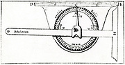 Planimeter used in conjunction with a set square for surveying. From Levinus Hulsius 'Instrumentorum Mechanicorum', Frankfort-am-Main, 1605. Engraving