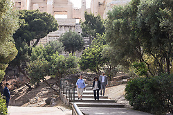 Pictured: president Sakelaropoulou Aikarerini (centre) visits the Acropolis<br /> <br /> The ancient Acropolis in Athens has reopened to the public today.  The vast site has restricted visitor numbers to 2,000 to enable appropriate social distancing to be in operation<br /> <br /> Dimitris Lampropoulos  | EEm 18 May 2020