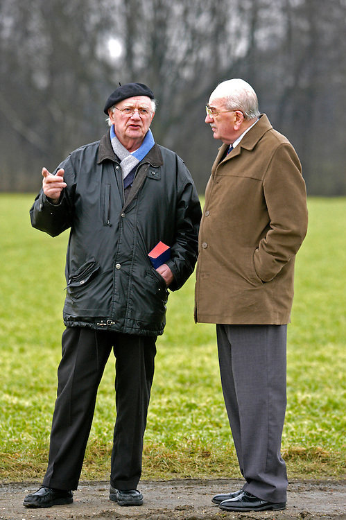 James Hopkins, Halifax Flight Engineer on his return visit to Germany. James Hopkins and Hugo Bresser(beret) at the site of Hugo's flak battery which shot down James's Halifax bomber in 1943.
