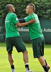 19.08.2011, Trainingsgelaende, Bremen, GER, 1.FBL, Training Werder Bremen, im Bild Naldo (Bremen #4) und Marko Arnautovic (Bremen #7) // during training session from Werder Bremen on 2011/08/19, Trainingsgelaende Werder Bremen, Bremen, Germany. EXPA Pictures © 2011, PhotoCredit: EXPA/ nph/  Gumz       ****** out of GER / CRO  / BEL ******