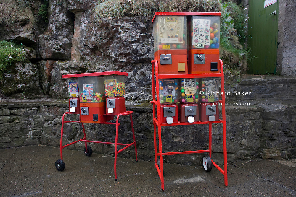 Sweets dispenser at Blue John Cavern in the Derbyshire Peak District National Park.
