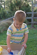 A small boy plays in a backyard sandbox on a sunny afternoon.