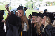Amy Haas takes a selfie with three friends before Undergraduate Commencement ©Ohio University/ Photo by Kaitlin Owens