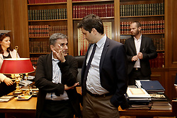 June 11, 2017 - Athens, Attica, Greece - Greek Finanace Minister Euclid Tsakalotos (L) and George Chouliarakis, Alternate Finance Minister at Maximos mansion, in Athens on June 12, 2017  (Credit Image: © Panayotis Tzamaros/NurPhoto via ZUMA Press)