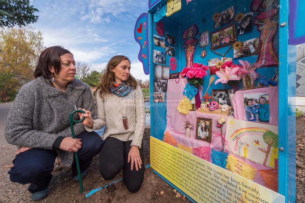 dia de los muertos family day Hilda Cortez Nicho with Dr. Lilia Cervantes