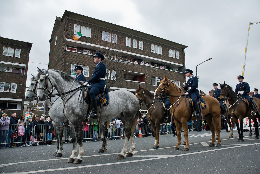 Mounted police taking part in the 2007 St. Patrick's Festival Parade.Since it's establishment in 1995 the St. Patrick's Festival has become the biggest festival in Ireland. It takes place annually on or around St. Patrick's Day, the 17th of March. The highlight of the festival is the St. Patrick's Day Parade which winds it's way through the streets of Dublin on St. Patricks Day.