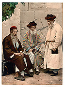 Three elderly Jewish men in Jerusalem, c1890-1900 Palestine. At this date Jerusalem was part of the Ottoman Empire.   Religion Race Photochrome