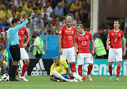 ROSTOV-ON-DON, June 17, 2018  Neymar (bottom) of Brazil falls down during a group E match between Brazil and Switzerland at the 2018 FIFA World Cup in Rostov-on-Don, Russia, June 17, 2018. The match ended in a 1-1 draw. (Credit Image: © Lu Jinbo/Xinhua via ZUMA Wire)