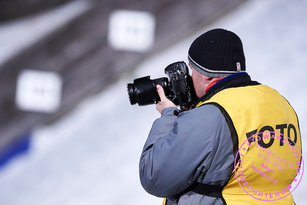 Photographer shoots pictures  during FIS World Cup Ski Jumping competition in Zakopane, Poland on January 17, 2015.<br /> <br /> Poland, Zakopane, January 17, 2015.<br /> <br /> Picture also available in RAW (NEF) or TIFF format on special request.<br /> <br /> For editorial use only. Any commercial or promotional use requires permission.<br /> <br /> Mandatory credit:<br /> Photo by &copy; Adam Nurkiewicz / Mediasport
