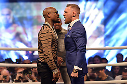 © Licensed to London News Pictures. 14/07/2017. London, UK. Professional boxer FLOYD MAYWEATHER UFC and Lightweight Champion CONOR MCGREGOR appear at Wembley SSE on the final leg of their World Tour in London. Photo credit: Ray Tang/LNP
