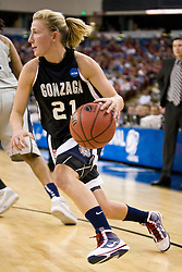 March 27, 2010; Sacramento, CA, USA; Gonzaga Bulldogs guard Courtney Vandersloot (21) during the first half against the Xavier Musketeers in the semifinals of the Sacramental regional in the 2010 NCAA womens basketball tournament at ARCO Arena. Xavier defeated Gonzaga 74-56.