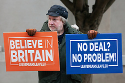 London, UK. 9th January, 2019. An activist from pro-Brexit group Leave Means Leave protests outside Parliament on the first day of the debate in the House of Commons on Prime Minister Theresa May's proposed Brexit withdrawal agreement.