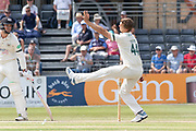 Will Davis bowling during the Specsavers County Champ Div 2 match between Gloucestershire County Cricket Club and Leicestershire County Cricket Club at the Cheltenham College Ground, Cheltenham, United Kingdom on 16 July 2019.